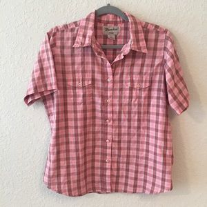 Wrangler Pink Plaid Western Button Down Shirt